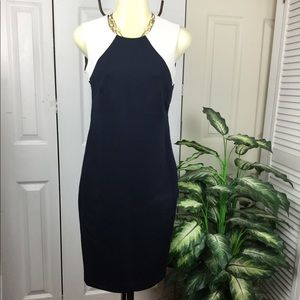 DKNY SCUBA NAVY BLUE WHITE MIDI DRESS